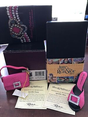 Just The Right Shoe Sparkle Shoe & Purse, W/coa, Both Signed