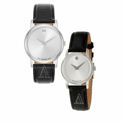 Movado Museum Silver Dial Black Leather Mens & Womens Watch 2100001 2100003