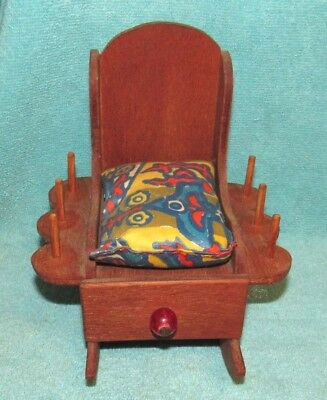 Vintage Wooden Rocking Chair Sewing Caddy w/Spool Holders & Pin Cushion