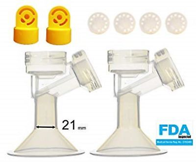 Two Maymom Breastshields w/ Valve and Membrane 21-mm for Medela Breast Pump