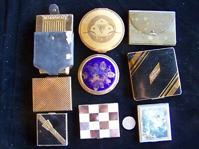 Collectable Lot Of 9 Vintage Powder Compacks Elgin 2, Patrys, Avon, & 5 More