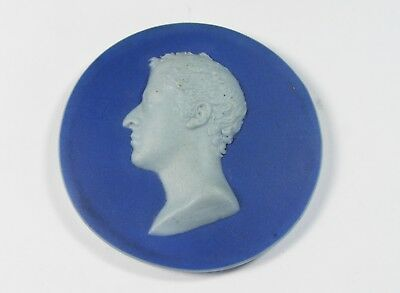 Antique Blue And White Jasper Ware Small Portrait Plaque - Wedgwood?