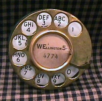 Old Antique Vintage SOLID BRASS TELEPHONE ROTARY FINGER DIAL with  ENAMEL FACE