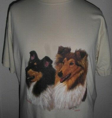 T-Shirt with Transfer print of Collies by Robert May - Beige - Large