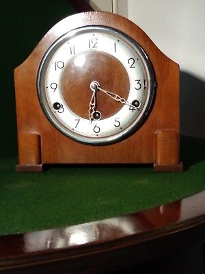 Vintage Art Deco walnut 'Bentima Perivale' Mantel Clock with Westminster Chimes