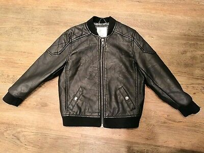 Boys River Island Black Leather-look Bomber Jacket - Size 3-4 Years (104 cm)