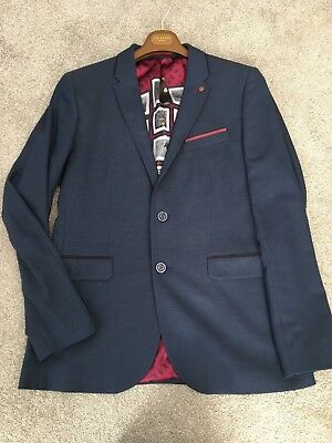 Ted Baker Navy 3 Piece Suit Jacket & Waistcoat Size 4 Trousers 34R