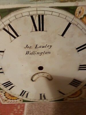 "ANTIQUE ARCHED TOP GRANDFATHER CLOCK FACE by ""JOS LAWLEY"" of WELLINGTON"