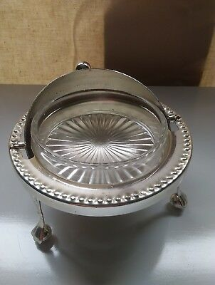 ANTIQUE COLLECTIBLE butter dish Made England Silver Plated Glass inlay