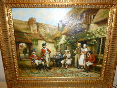 Oil / board French military red tunics early 19th cent scene signed MASOZRO 1930