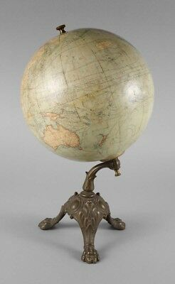 Antique Danish Terrestrial globe on cast iron lions feet JORDGLOBE circa 1900s