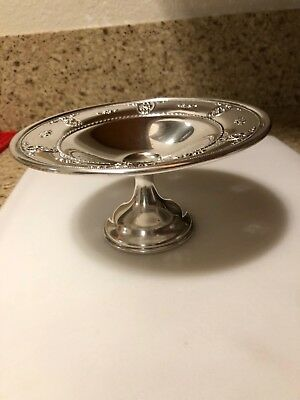 Wallace Rose Point Sterling Silver Compote with weighted base 4640-9