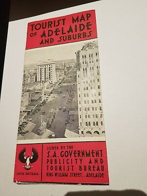 Vintage Tourist Map Adelaide and Suburbs