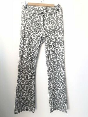 Hippy Hippy Shake Silver & Black Floral Print Pants Size Small FUNKY AS! A025