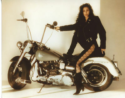 Cher On Motorcycle Vintage  8x10 Photo Print