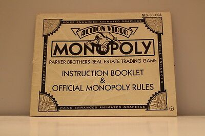 Monopoly NES Video Game Manual Instructions with property insert Nintendo