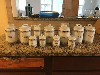 Vintage German Kitchen Canisters 9 piece set China