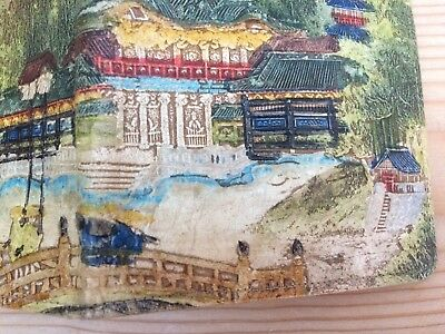 Vintage Japanese hand-painted leather wallet with a beautifully painted scene