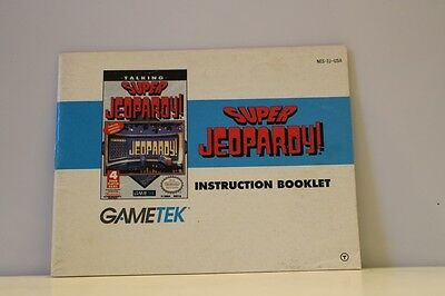 Super Jeopardy NES Video Game Manual Instructions Nintendo