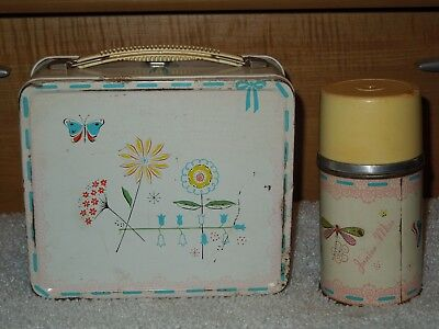 Vintage 1956 Aladdin Industries Jr. Miss Metal Lunchbox w/Thermos - Butterfly