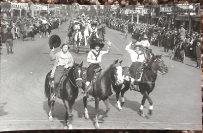 Cheyenne Frontier Days RPPC Real Photo Parade Cowgirls Horses AZO 1920s Wyoming