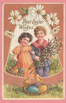 DR WHO 1910s PC BEST EASTER WISHES KIDS EMBOSSED COLORFUL PC CHICAGO IL 7820