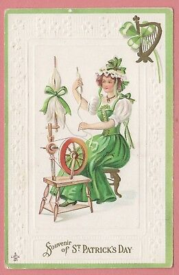 Dr Who Vintage Pc St Patrick's Day Pc Woman Weaving Embossed Unused 7827
