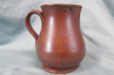 Antique Redware Pottery Pitcher Unusual Glaze Probably Pa. or New England