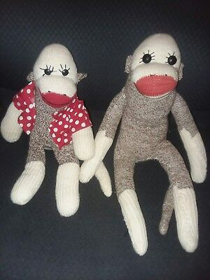 Pair of Vintage Antique Homemade Sock Monkey Mr. and Mrs