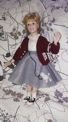 Vintage~1950's Inspired Porcelain Doll w/poodle skirt~Marked SPG 1990~Cloth Body