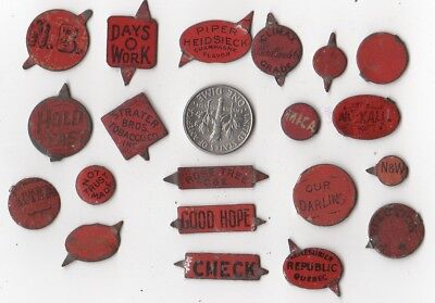 Lot Of 20 Small Red Tin Tobacco Tags One Money