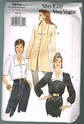 vogue 8912  Misses blouse and tunic. Size 6, 8, and 10