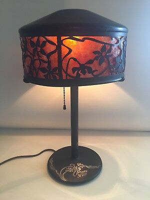 """Antique Heintz Arts & Crafts Signed Silver on Bronze Mica Lamp 14.5"""" tall"""