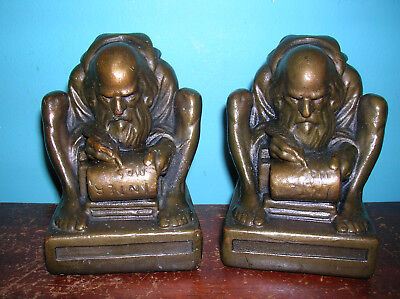 Antique scribe monk monastery bookends Armor Bronze clad, Gregory Allen, 1923