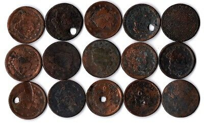 15 various Large Cent Copper Early United States Coins Matron Head