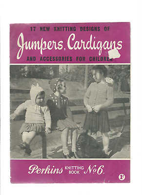 vintage  PERKINS  KNITTING BOOK #6 17 designs of jumpers cardigans & accessories