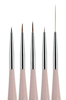 5pcs Nail Art Liner + Striping Brush for Fine Line Detailing Blending One-Stroke