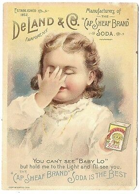 """Advertising Tradecard Deland & Co."""" Cap Sheaf Brand"""" Soda - Hold to the Light"""
