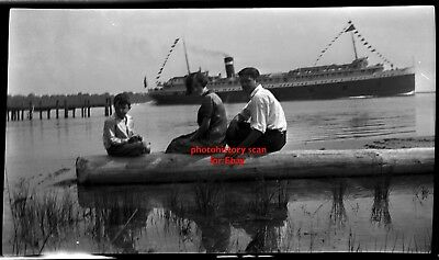 GREAT LAKES  SHIP EARLY STEAM FERRY BOAT  1910'S NEGATIVE HARSENS ISLAND Kids