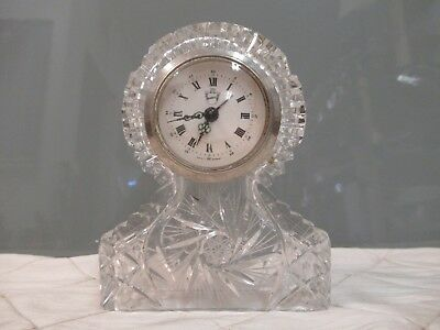Belfor Crystal Pinwheel Mantle Clock West Germany Vintage Desk Table Top