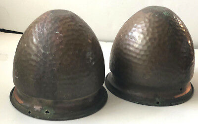 Vintage pair of Arts and Crafts Hand Hammered Copper hanging planters
