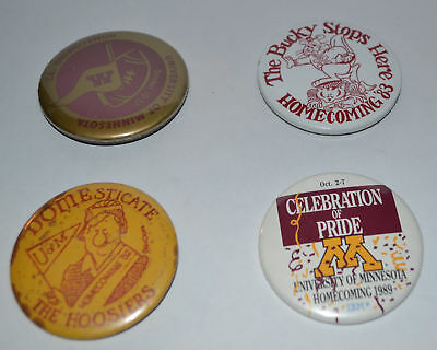 Lot of 4 Vintage University of Minnesota Football Homecoming Pinback Buttons 2