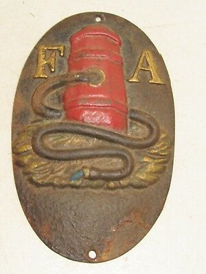 Vintage Cast Iron F A Fire Association Insurance Red Fire Hydrant Plaque Mark