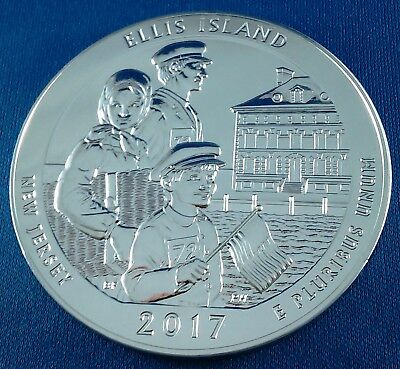 2017 Ellis Island America the Beautiful ATB 5 Ounce .999 Silver Coin w/ air-tite
