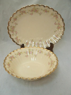 "Sebring Umbertone Goldenware ASBURY 11"" Platter & 8"" Vegetable Serving Bowl USA"