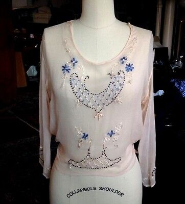 1920s Pale Pink Silk Chiffon Beaded Embroidered Blouse Art Deco Small Antique