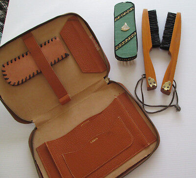 Vintage Vermont Writing Travel Case Wood Handle clothes Brushes Single Brush