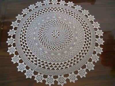 Antique needle Lace & Crochet Tablecloths, white or beige. handmade.