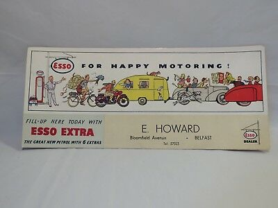 Antique 1950s Graphic ESSO Gas Station Advertising Blotter Card 3 available