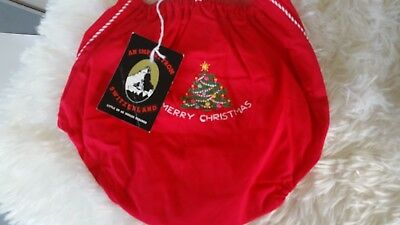 Vintage Plastic Lined Baby Diaper Cover Merry Christmas Switzerland NWT Red Tree